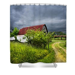 Thunder Road Shower Curtain by Debra and Dave Vanderlaan