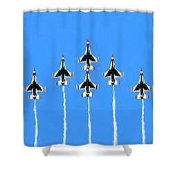 Shower Curtain featuring the mixed media Thunderbirds Flying In Formation by Mark Tisdale