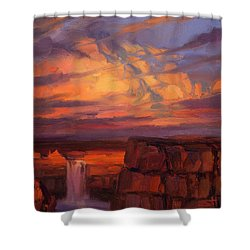 Shower Curtain featuring the painting Thundercloud Over The Palouse by Steve Henderson