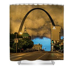 Thunderstorm Over The Gateway Arch Shower Curtain by Garry McMichael