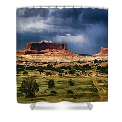 Thunderstorms Approach A Mesa Shower Curtain