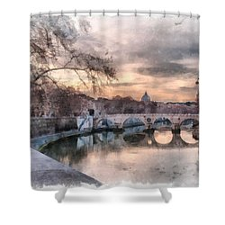 Tiber - Aquarelle Shower Curtain by Sergey Simanovsky