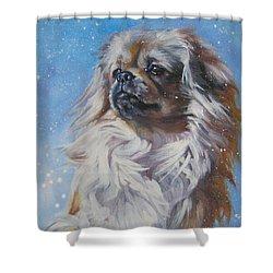 Tibetan Spaniel In Snow Shower Curtain by Lee Ann Shepard