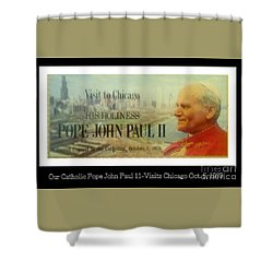 Shower Curtain featuring the photograph Ticket To Pope John Paul In Chicago 1979 by Sherri  Of Palm Springs