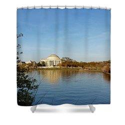 Tidal Basin And Jefferson Memorial Shower Curtain by Megan Cohen