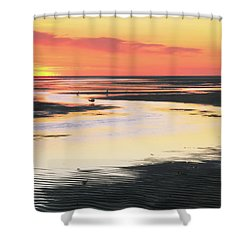 Tidal Flats At Sunset Shower Curtain