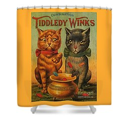 Tiddledy Winks Funny Victorian Cats Shower Curtain