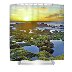 Shower Curtain featuring the photograph Tide Pools At Sunset by Tara Turner