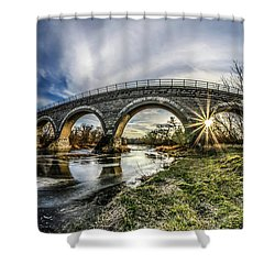 Tiffany Bridge Panorama Shower Curtain