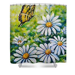 Tiger And Daisies  Shower Curtain