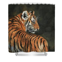 Shower Curtain featuring the painting Tiger At Night by David Stribbling