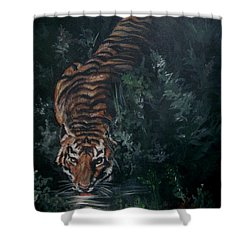 Shower Curtain featuring the painting Tiger by Bryan Bustard