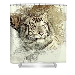 Shower Curtain featuring the photograph Tiger by Clare VanderVeen