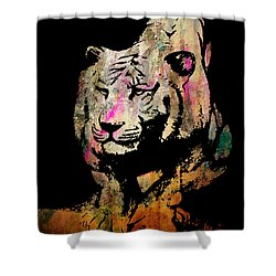 Shower Curtain featuring the drawing Tiger Collage #1 by Kim Gauge