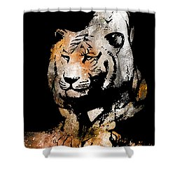 Shower Curtain featuring the drawing Tiger Collage #6 by Kim Gauge