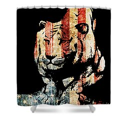 Shower Curtain featuring the drawing Tiger Collage #9 by Kim Gauge