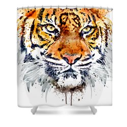 Shower Curtain featuring the mixed media Tiger Face Close-up by Marian Voicu