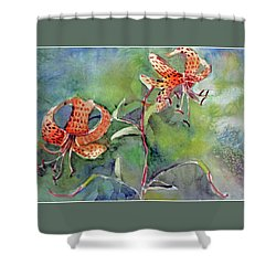 Shower Curtain featuring the painting Tiger Lilies by Mindy Newman