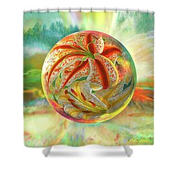Shower Curtain featuring the digital art Tiger Lily Dream by Robin Moline