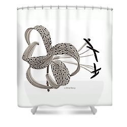 Tiger Lily In Black And White Shower Curtain by Chris Berry