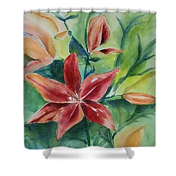 Tiger Lily Still Life In Watercolor Shower Curtain by Geeta Biswas