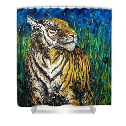 Tiger Night Hunt Shower Curtain