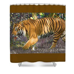 Shower Curtain featuring the painting Tiger On The Prowl by Judy Kay