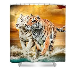 Shower Curtain featuring the mixed media Tiger Run by Carol Cavalaris