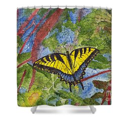 Tiger Swallowtail Watercolor Batik On Rice Paper Shower Curtain
