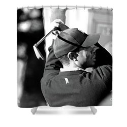Tiger Woods Blk Wht  Shower Curtain