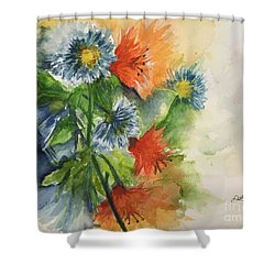 Shower Curtain featuring the painting Tigerlilies And Cornflowers by Lucia Grilletto