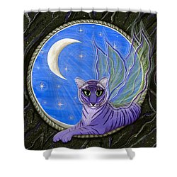 Tigerpixie Purple Tiger Fairy Shower Curtain by Carrie Hawks