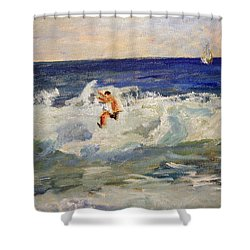 Shower Curtain featuring the painting Tightrope Walking The Waves by Michael Helfen