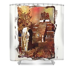 Shower Curtain featuring the painting Tikal Mayan Ruins- Guatemala by Ryan Fox