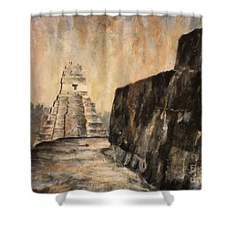 Shower Curtain featuring the painting Tikal Ruins- Guatemala by Ryan Fox