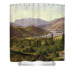 Tile Fjord Shower Curtain by Louis Gurlitt