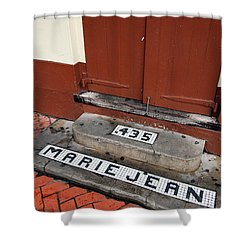 Tile Inlay Steps Marie Jean 435 Wooden Door French Quarter New Orleans Shower Curtain