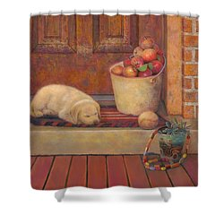 Shower Curtain featuring the painting Till The Kids Come Home by Nancy Lee Moran