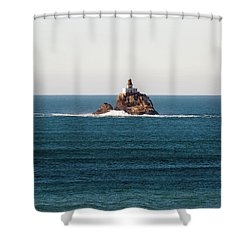 Tillamook Rock Lighthouse On A Calm Day Shower Curtain