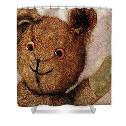 Tillie - Vintage Bear Painting Shower Curtain by Linda Apple