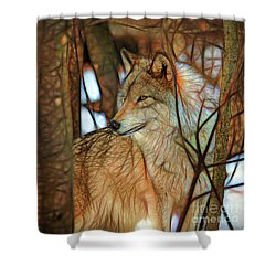 Timber Wolf Colorful Art Shower Curtain by Eleanor Abramson