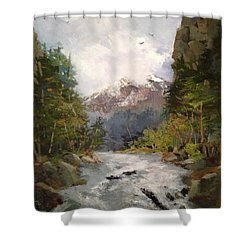Shower Curtain featuring the painting Timberlands by Helen Harris