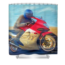 Time And Space Equation - Triumph 600tt Shower Curtain by Brian  Commerford