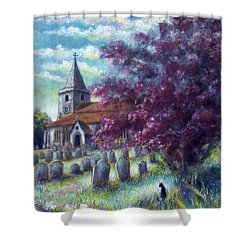 Shower Curtain featuring the painting Time Our Companion by Retta Stephenson