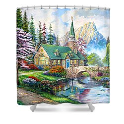 Shower Curtain featuring the painting Time To Come Home by Karen Showell