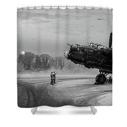 Shower Curtain featuring the photograph Time To Go - Lancasters On Dispersal Bw Version by Gary Eason