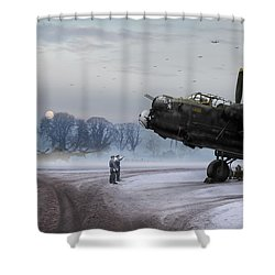 Time To Go - Lancasters On Dispersal Shower Curtain by Gary Eason