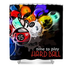 Time To Play Hard Ball Black Shower Curtain