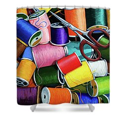 Shower Curtain featuring the painting Time To Sew - Colorful Threads by Linda Apple