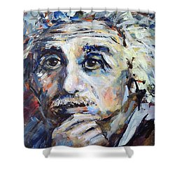 Shower Curtain featuring the painting Time To Think by Mary Schiros